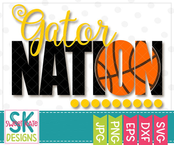 Gator Nation with Knockout Basketball SVG DXF EPS PNG JPG - Sweet Kate Designs