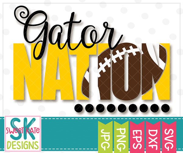 Gator Nation with Knockout Football SVG DXF EPS PNG JPG - Sweet Kate Designs