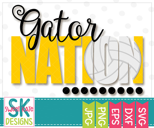 Gator Nation with Knockout Volleyball SVG DXF EPS PNG JPG - Sweet Kate Designs
