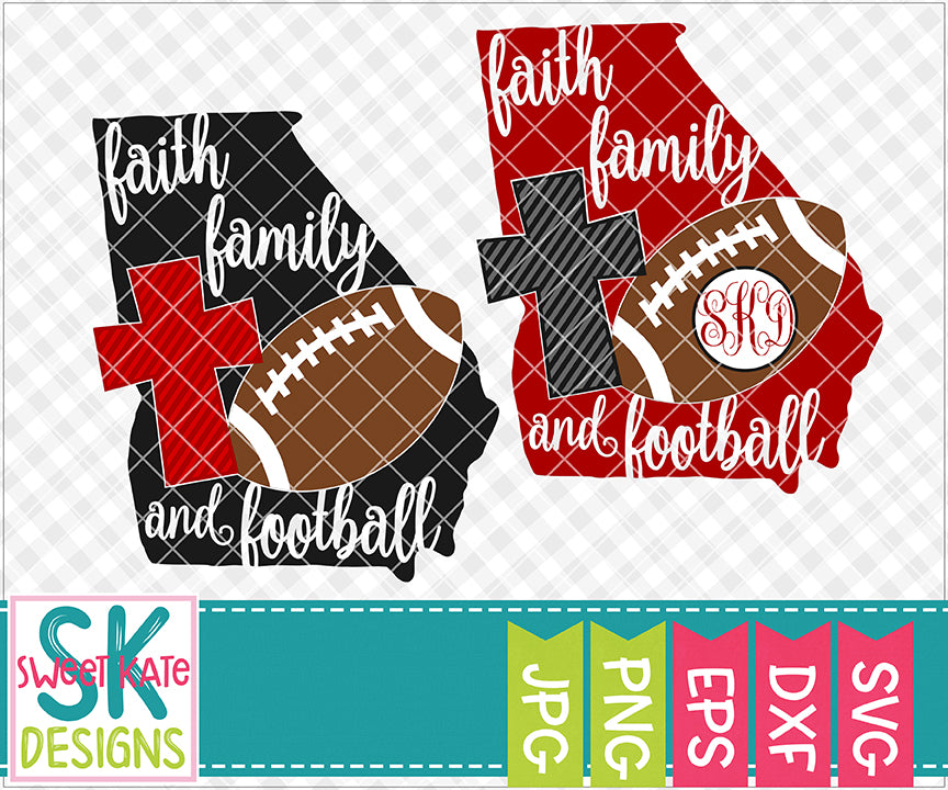 Georgia Faith Family & Football SVG DXF EPS PNG JPG - Sweet Kate Designs