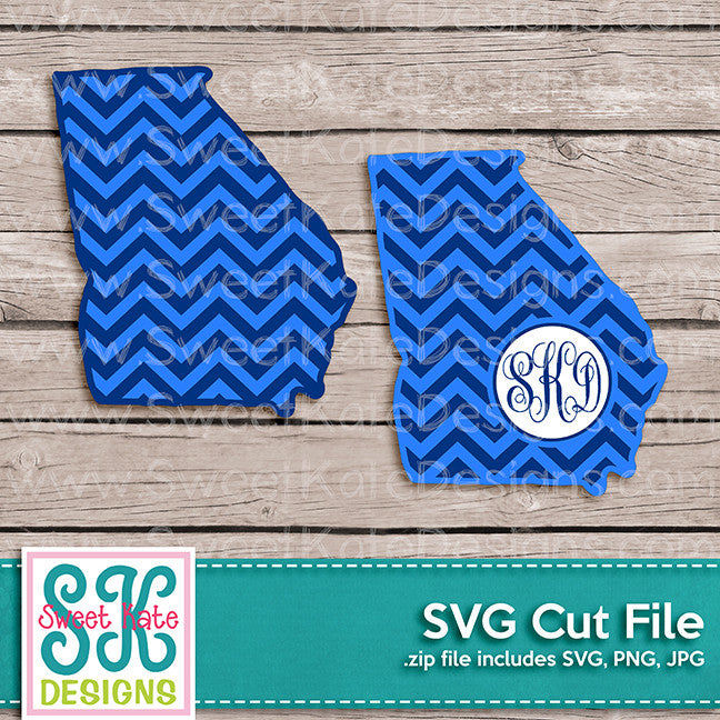 Georgia with Monogram Option Chevron SVG - Sweet Kate Designs