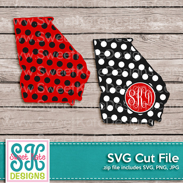 Georgia with Monogram Option Polka Dot SVG - Sweet Kate Designs