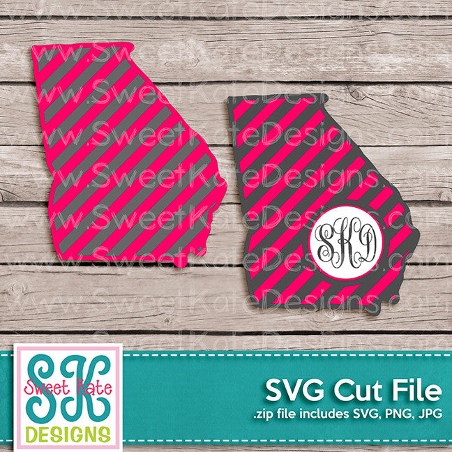 Georgia with Monogram Option Stripe SVG - Sweet Kate Designs