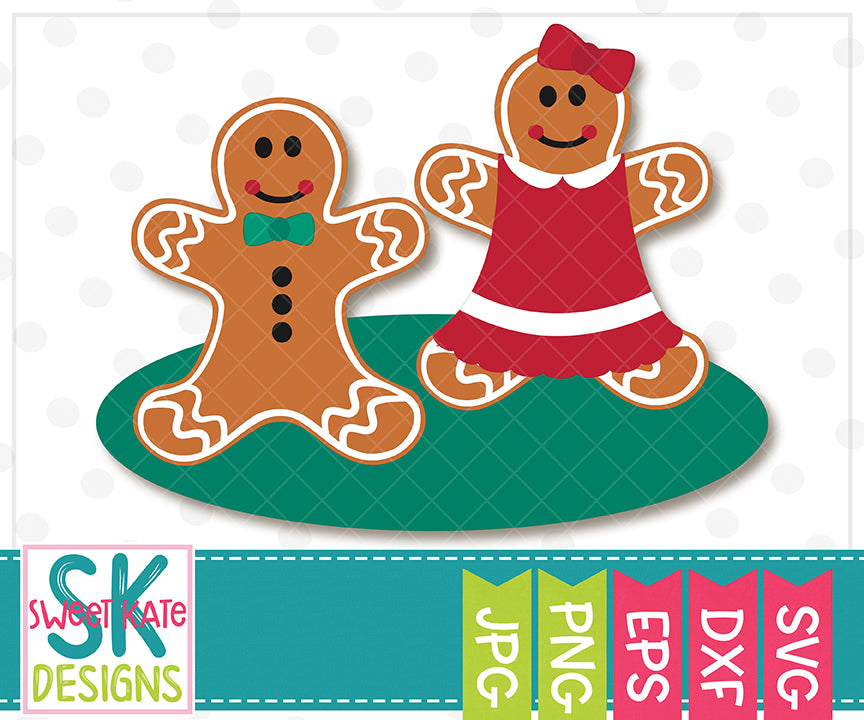 Gingerbread Couple SVG DXF EPS PNG JPG - Sweet Kate Designs