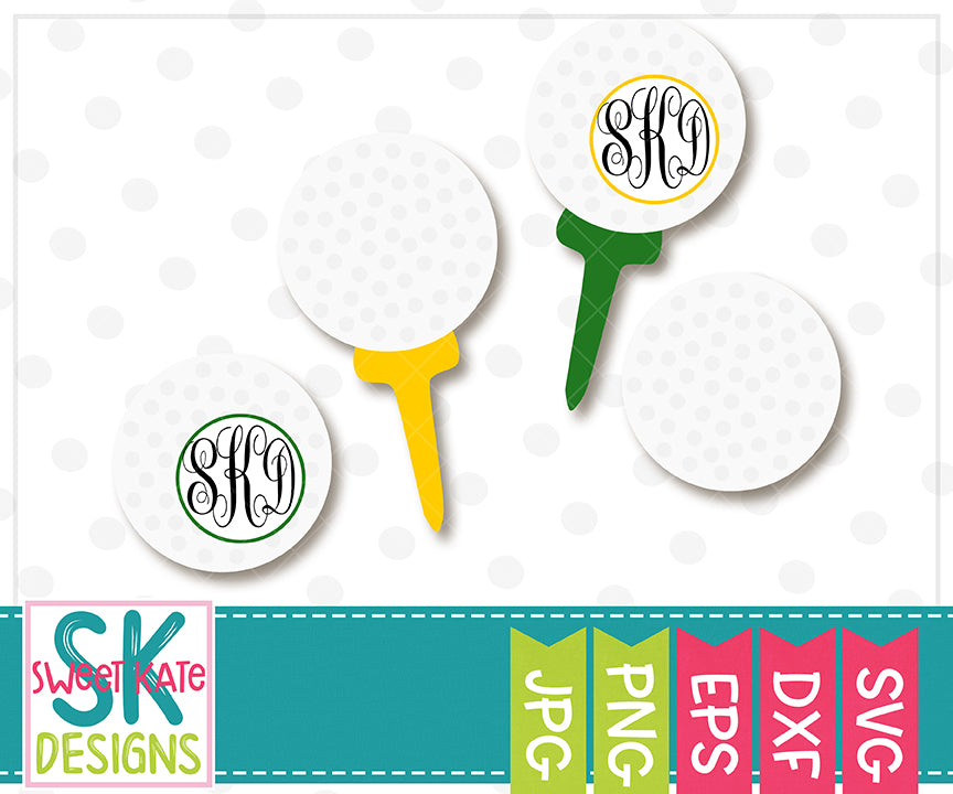 Golf Balls with Monogram Option SVG DXF EPS PNG JPG - Sweet Kate Designs