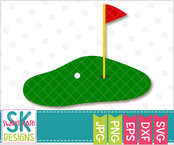 Golf Green with Flag SVG DXF EPS PNG JPG - Sweet Kate Designs