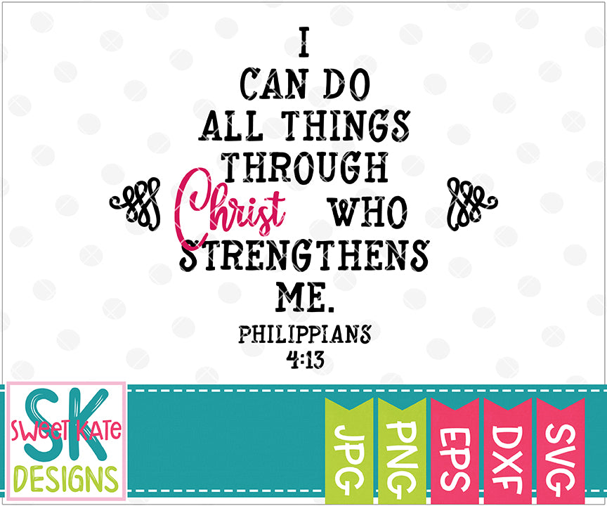 Graduation Cap I Can Do All Things SVG DXF EPS PNG JPG - Sweet Kate Designs