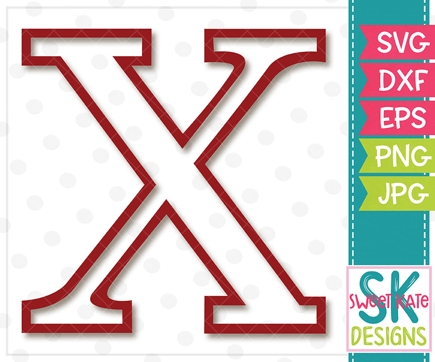 Greek Alphabet: Chi SVG DXF EPS PNG JPG - Sweet Kate Designs