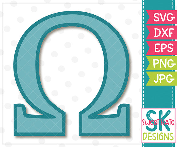 Greek Alphabet: Omega SVG DXF EPS PNG JPG - Sweet Kate Designs