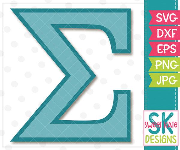 Greek Alphabet: Sigma SVG DXF EPS PNG JPG - Sweet Kate Designs