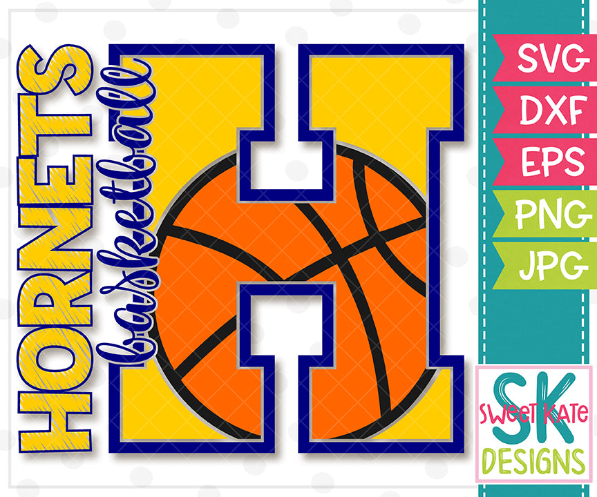 H Hornets Basketball SVG DXF EPS PNG JPG - Sweet Kate Designs