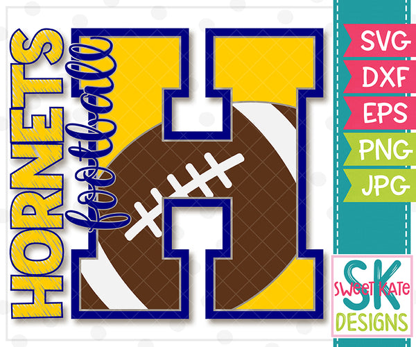 H Hornets Football SVG DXF EPS PNG JPG - Sweet Kate Designs