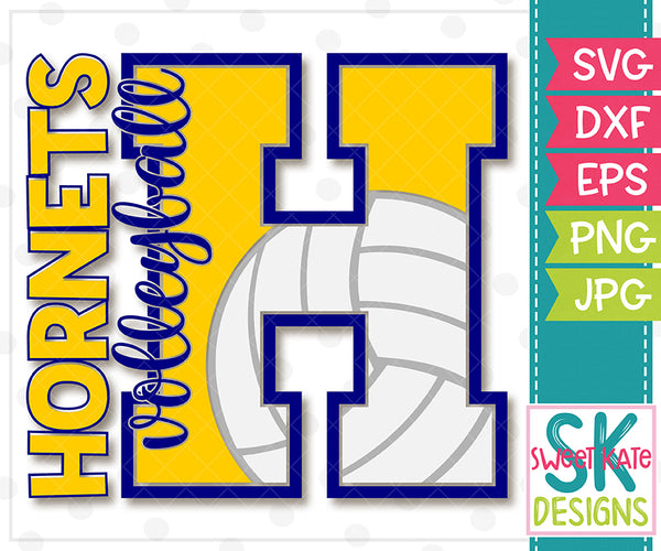 *NEW* H Hornets Volleyball SVG DXF EPS PNG JPG - Sweet Kate Designs
