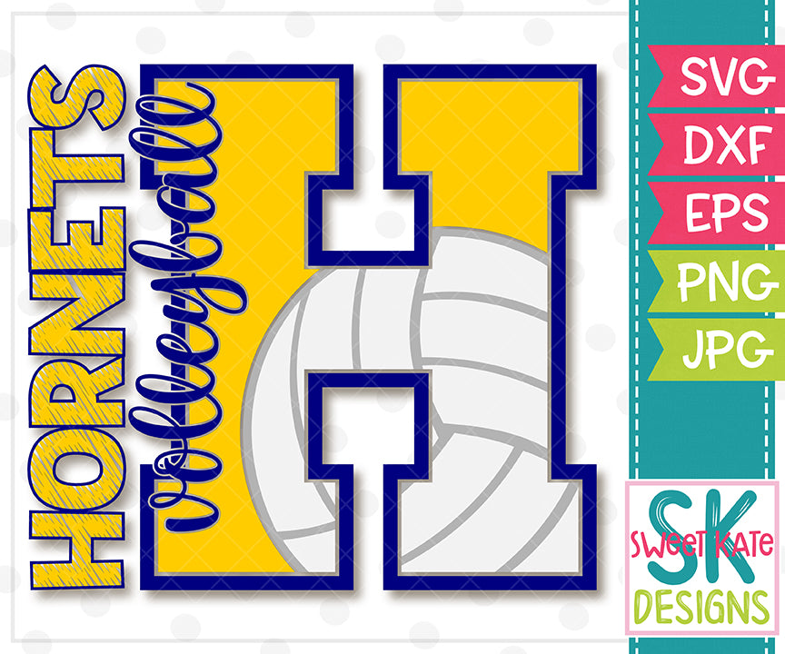 H Hornets Volleyball SVG DXF EPS PNG JPG - Sweet Kate Designs