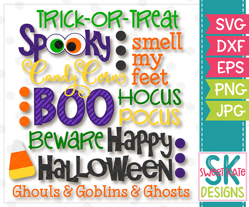 Halloween Words SVG DXF EPS PNG JPG - Sweet Kate Designs