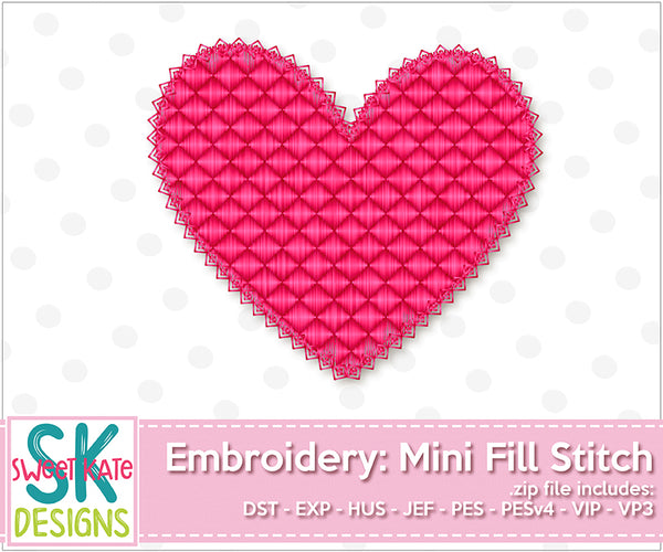 Heart Mini Fill Stitch Embroidery - Sweet Kate Designs