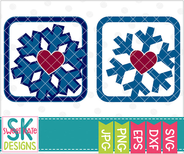 Heart Snowflake Frame - Sweet Kate Designs