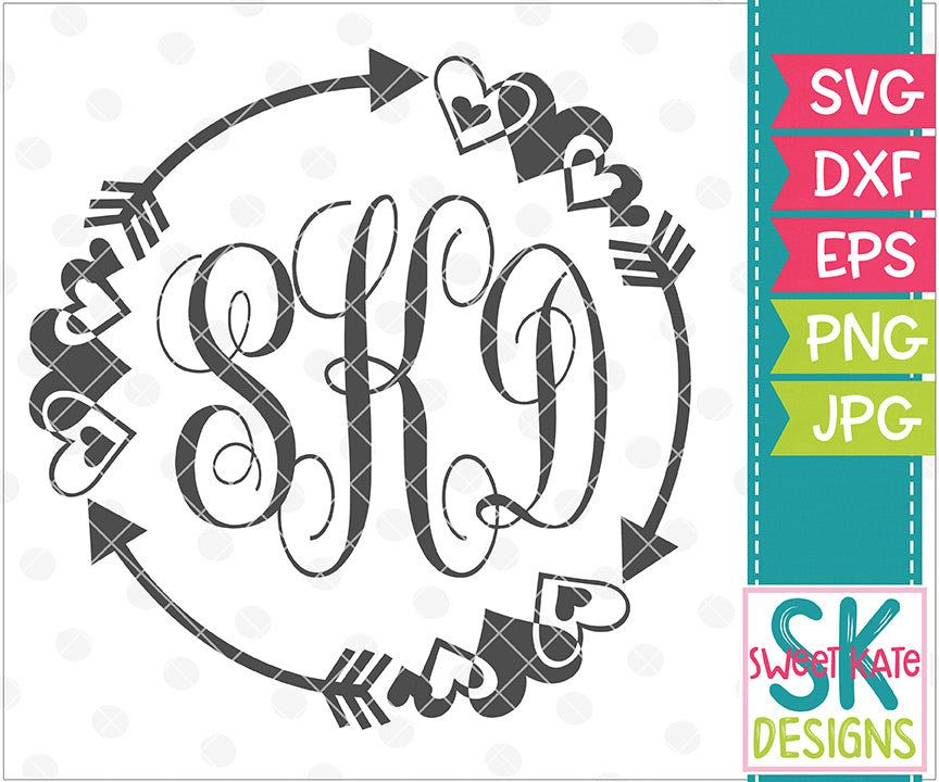 Hearts & Arrows Monogram Circles SVG DXF EPS PNG JPG - Sweet Kate Designs