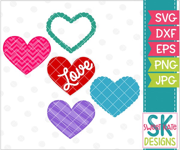 Hearts SVG DXF EPS PNG JPG - Sweet Kate Designs