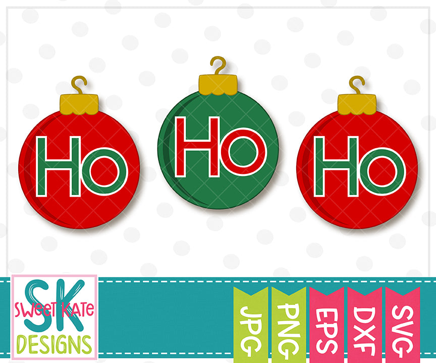 Ho Ho Ho Ornaments SVG DXF EPS PNG JPG - Sweet Kate Designs