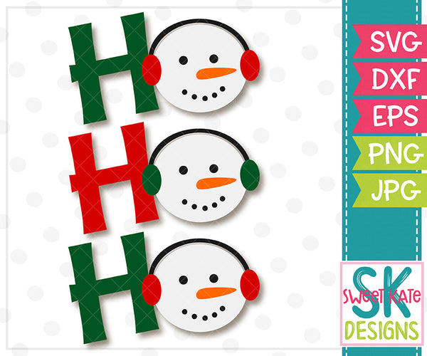 Ho Ho Ho with Snowmen SVG DXF EPS PNG JPG - Sweet Kate Designs