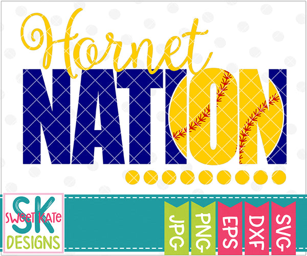 Hornet Nation with Knockout Baseball or Softball SVG DXF EPS PNG JPG - Sweet Kate Designs