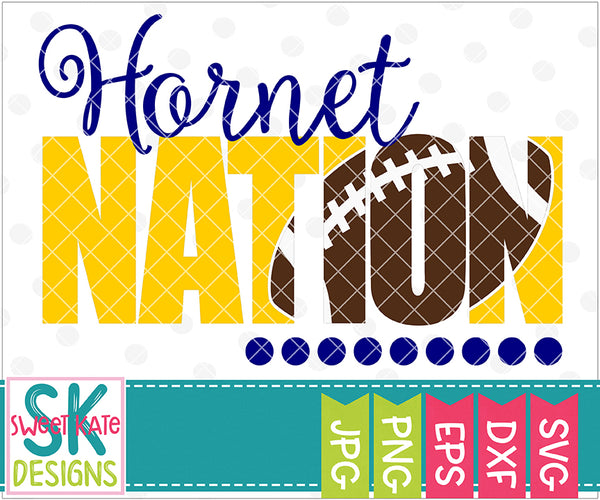 Hornet Nation with Knockout Football SVG DXF EPS PNG JPG - Sweet Kate Designs