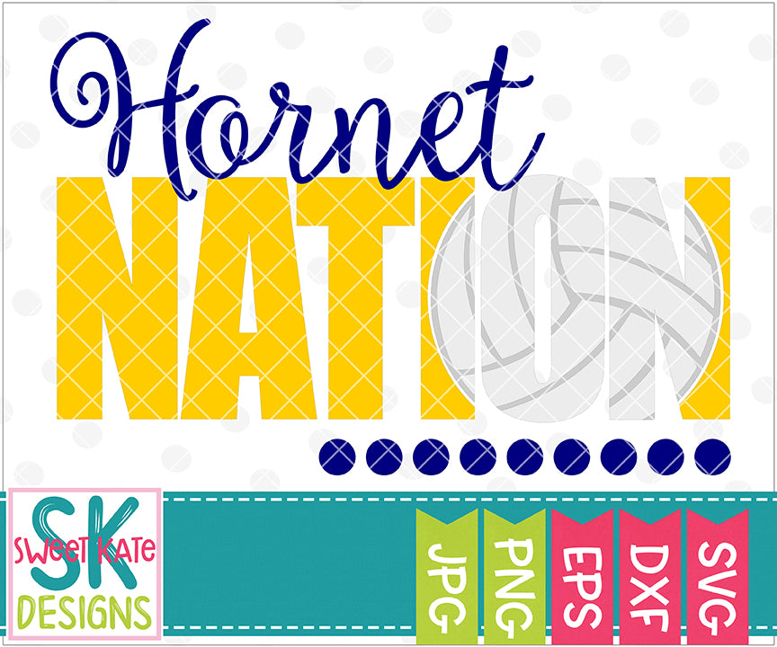 Hornet Nation with Knockout Volleyball SVG DXF EPS PNG JPG - Sweet Kate Designs