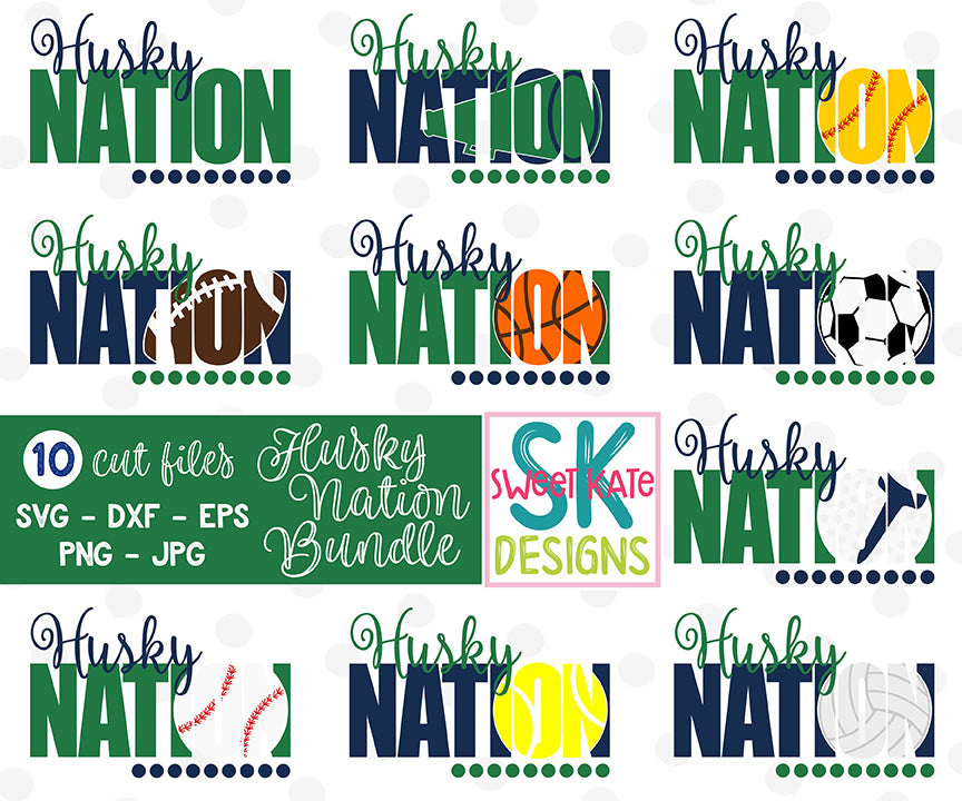 Husky Nation Bundle SVG DXF EPS PNG JPG - Sweet Kate Designs