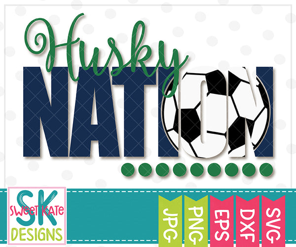 *NEW* Husky Nation with Knockout Soccer Ball SVG DXF EPS PNG JPG