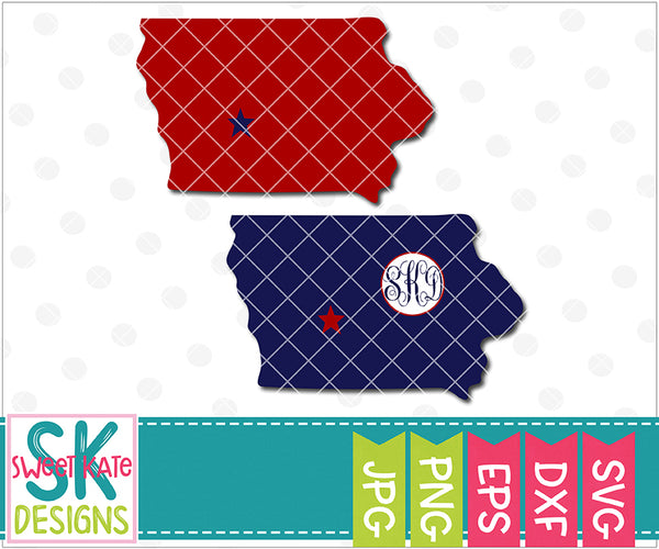 Iowa with Monogram Option SVG DXF EPS PNG JPG - Sweet Kate Designs