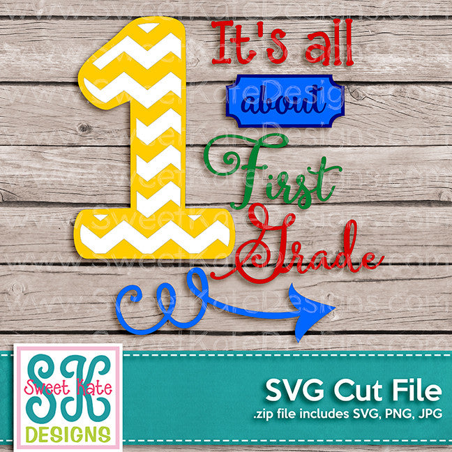 It's All About 1st Grade SVG - Sweet Kate Designs