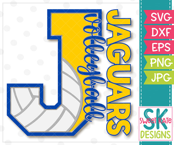 J Jaguars Volleyball SVG DXF EPS PNG JPG - Sweet Kate Designs
