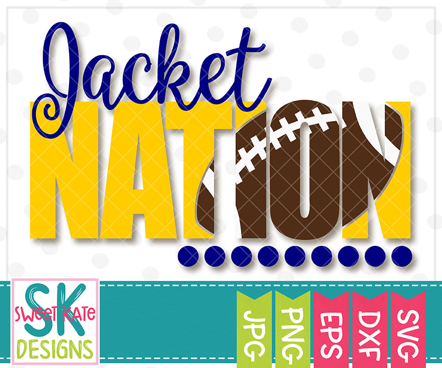 Jacket Nation with Knockout Football SVG DXF EPS PNG JPG - Sweet Kate Designs