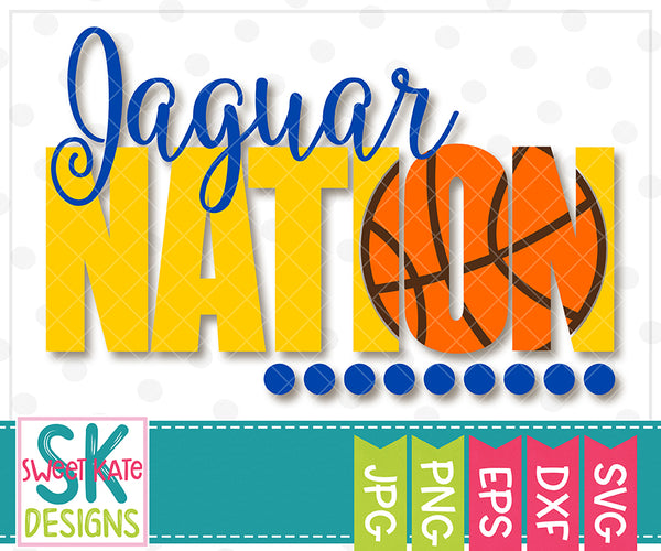 Jaguar Nation with Knockout Basketball SVG DXF EPS PNG JPG - Sweet Kate Designs