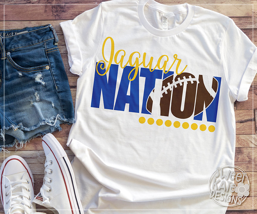 Jaguar Nation with Knockout Football SVG DXF EPS PNG JPG - Sweet Kate Designs