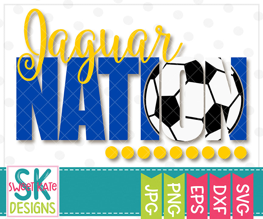 Jaguar Nation with Knockout Soccer Ball SVG DXF EPS PNG JPG - Sweet Kate Designs