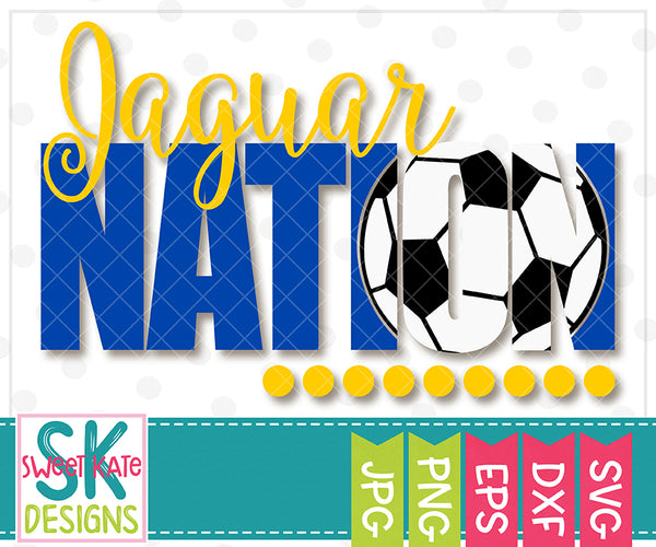 *NEW* Jaguar Nation with Knockout Soccer Ball SVG DXF EPS PNG JPG - Sweet Kate Designs