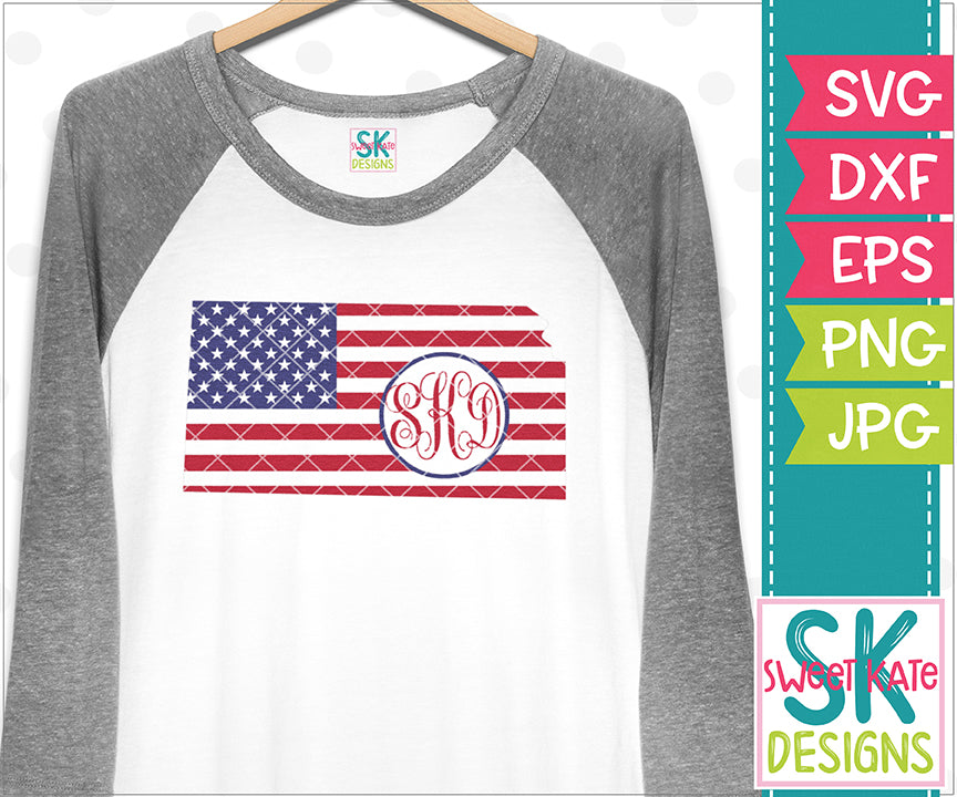 Kansas USA Flag with Monogram Option SVG DXF EPS PNG JPG - Sweet Kate Designs