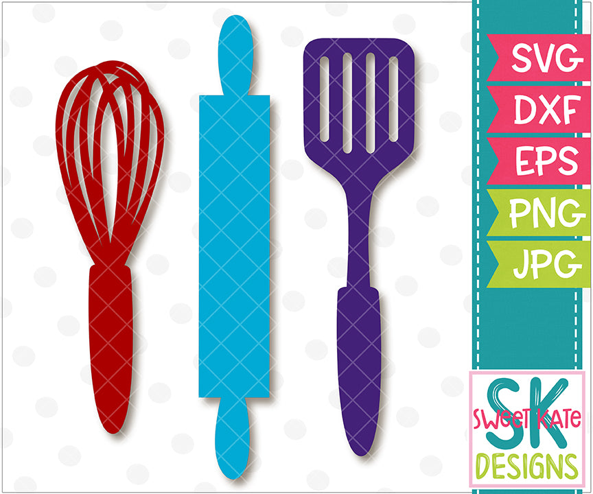 Kitchen Utensils SVG DXF EPS PNG JPG - Sweet Kate Designs