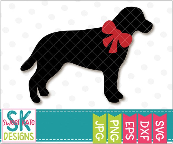 Labrador with Bow SVG DXF EPS PNG JPG - Sweet Kate Designs