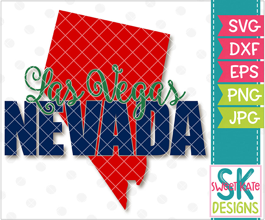 Nevada - Las Vegas with Knockout Nevada SVG DXF EPS PNG JPG - Sweet Kate Designs