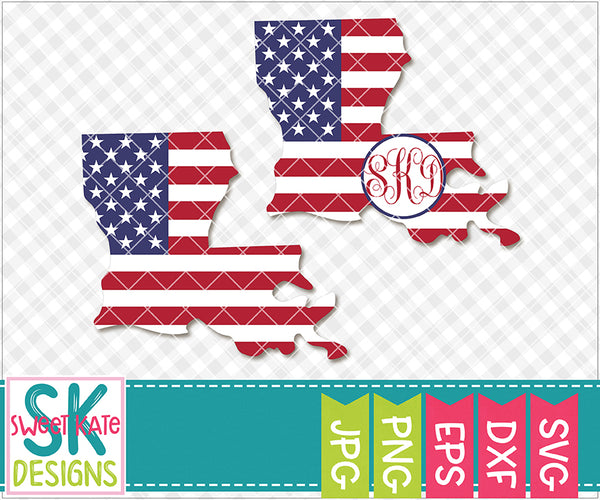 Louisiana USA Flag with Monogram Option SVG DXF EPS PNG JPG - Sweet Kate Designs