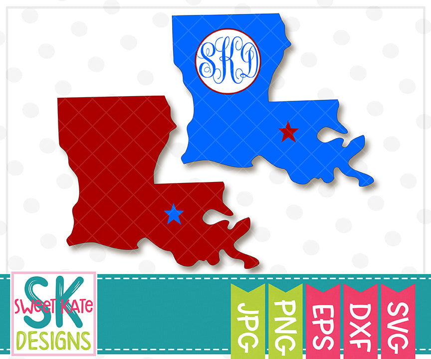 Louisiana with Monogram Option SVG DXG EPS PNG JPG - Sweet Kate Designs