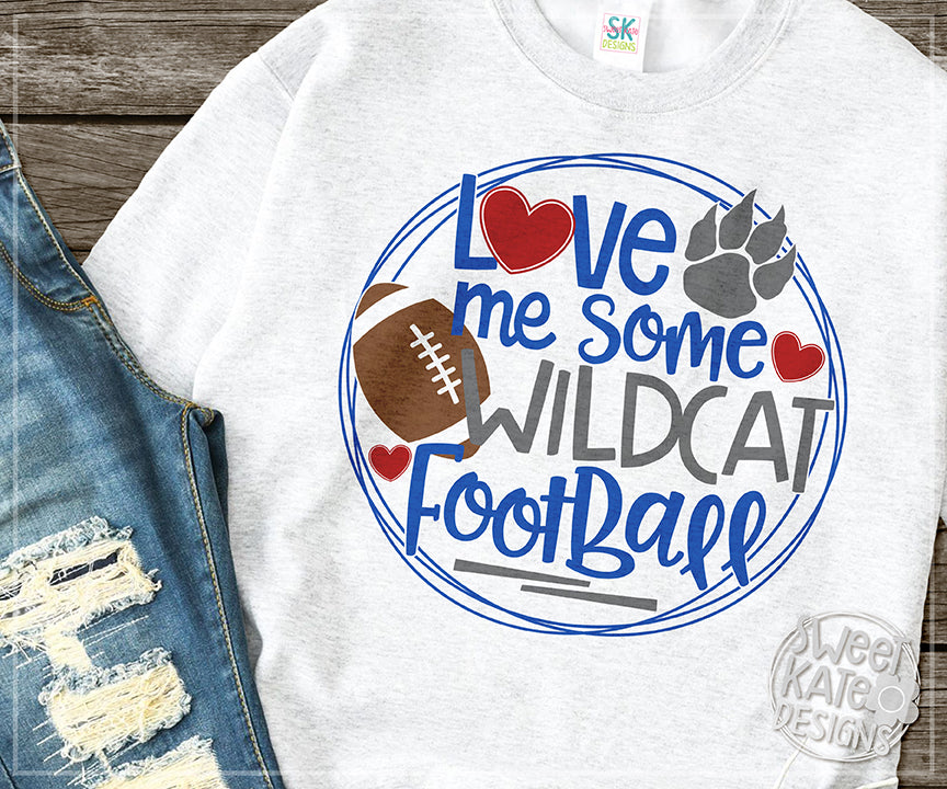 Love Me Some Wildcat Football SVG DXF EPS PNG JPG - Sweet Kate Designs