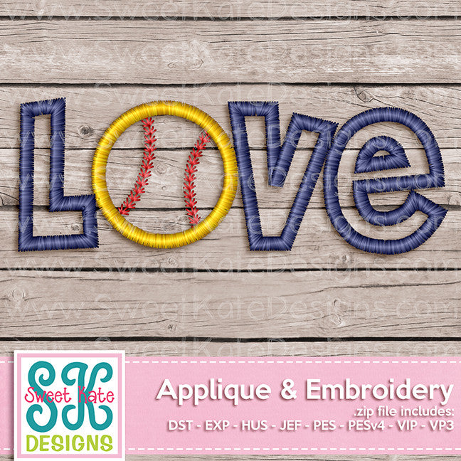 Love with Baseball or Softball Applique
