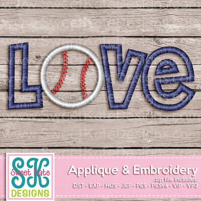 Love with Baseball or Softball Applique - Sweet Kate Designs