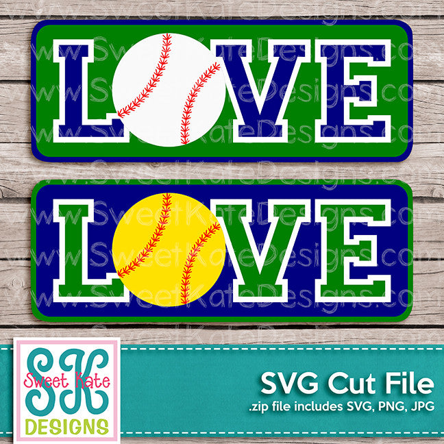 Love with Baseball or Softball SVG - Sweet Kate Designs