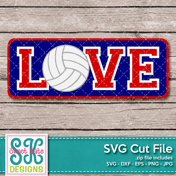 Love with Volleyball SVG DXF EPS PNG JPG - Sweet Kate Designs