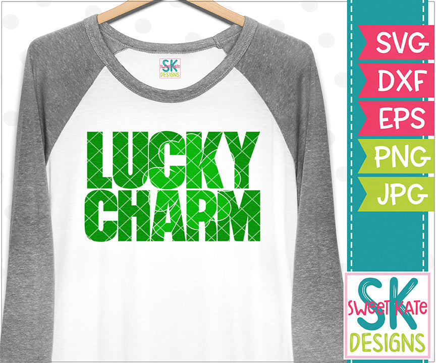 Lucky Charm with Knockout 4 Leaf Clover SVG DXF EPS PNG JPG - Sweet Kate Designs